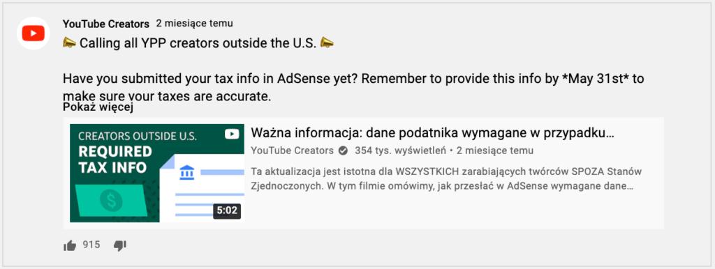 obrazek przedstawiający możliwość umieszczenia wideo zkanału wpoście